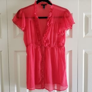 Fang Sheer Coral Blouse Size Large